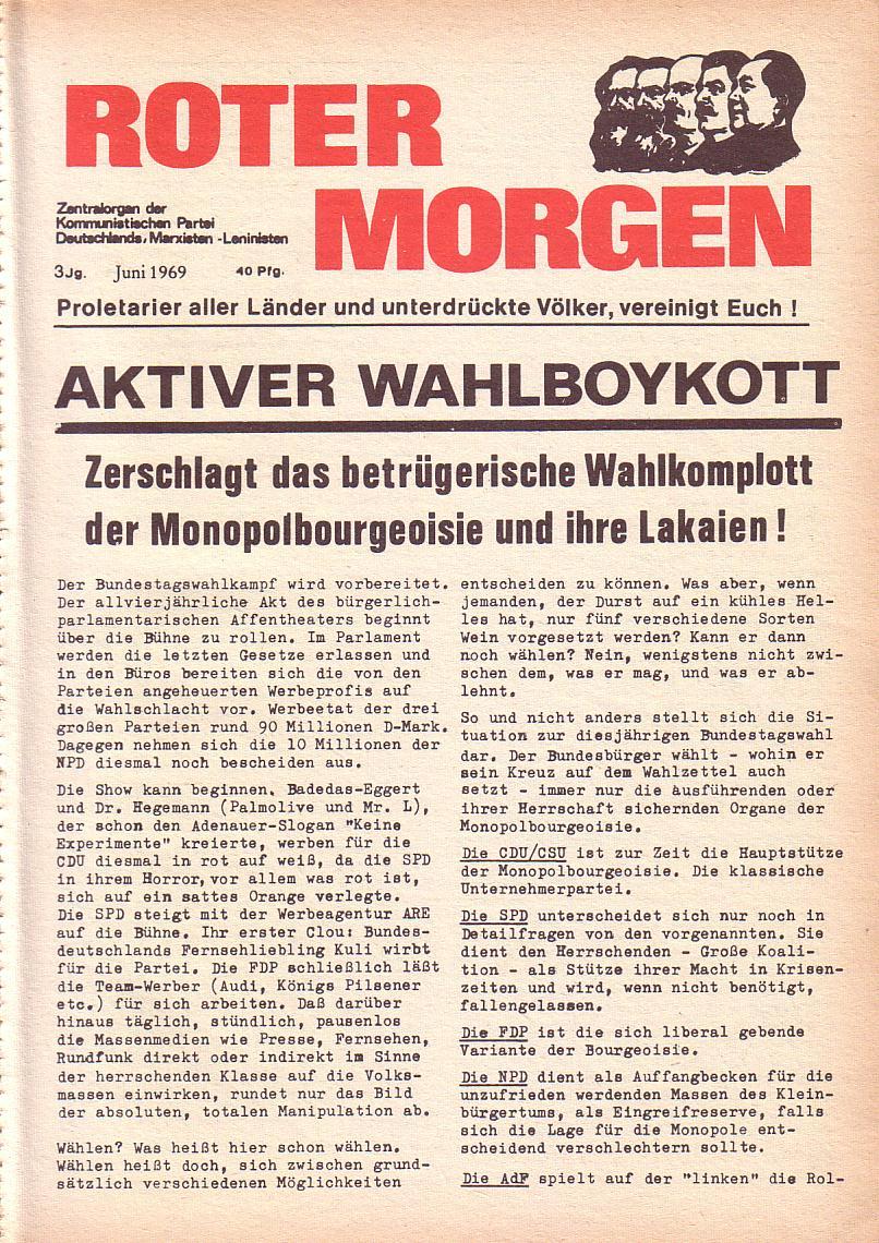 Roter Morgen, 3. Jg., Juni 1969, Seite 1