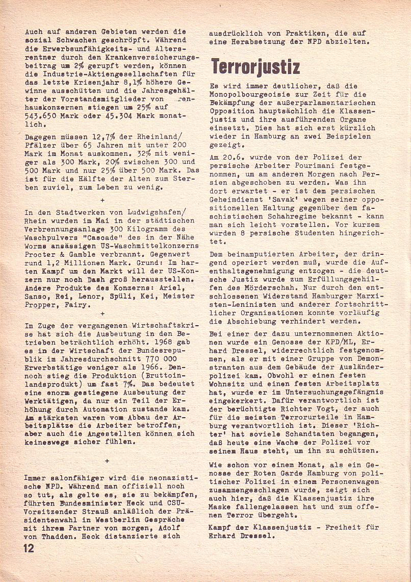 Roter Morgen, 3. Jg., Juni 1969, Seite 12