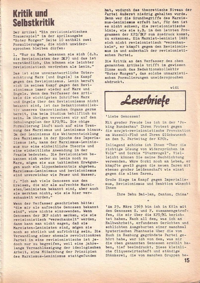 Roter Morgen, 3. Jg., Juni 1969, Seite 15