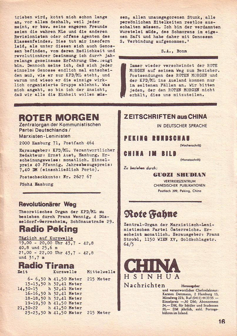 Roter Morgen, 3. Jg., Juni 1969, Seite 16