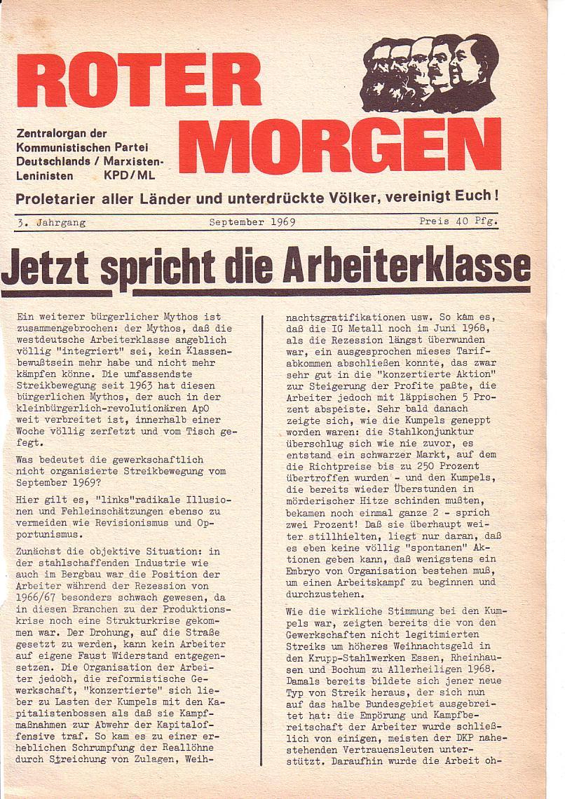 Roter Morgen, 3. Jg., Sept. 1969, Seite 1