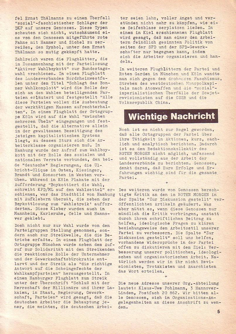 Roter Morgen, 3. Jg., Sept. 1969, Seite 5
