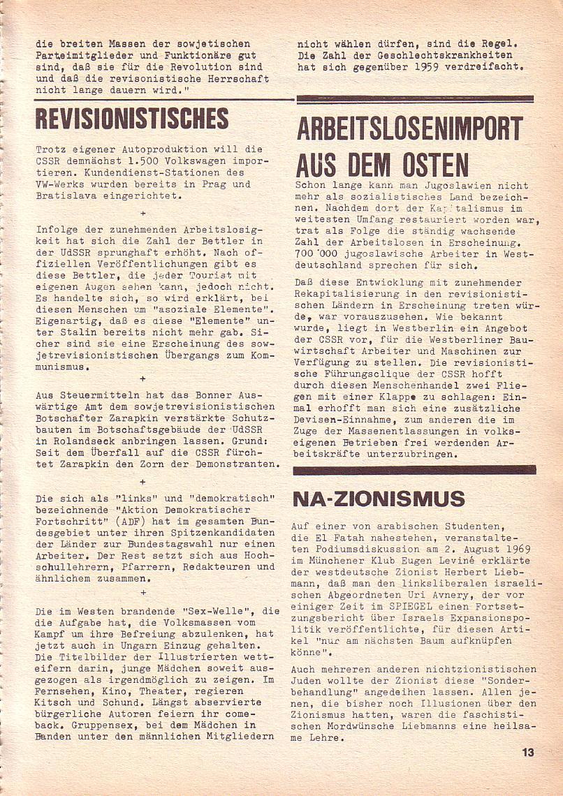 Roter Morgen, 3. Jg., Sept. 1969, Seite 13