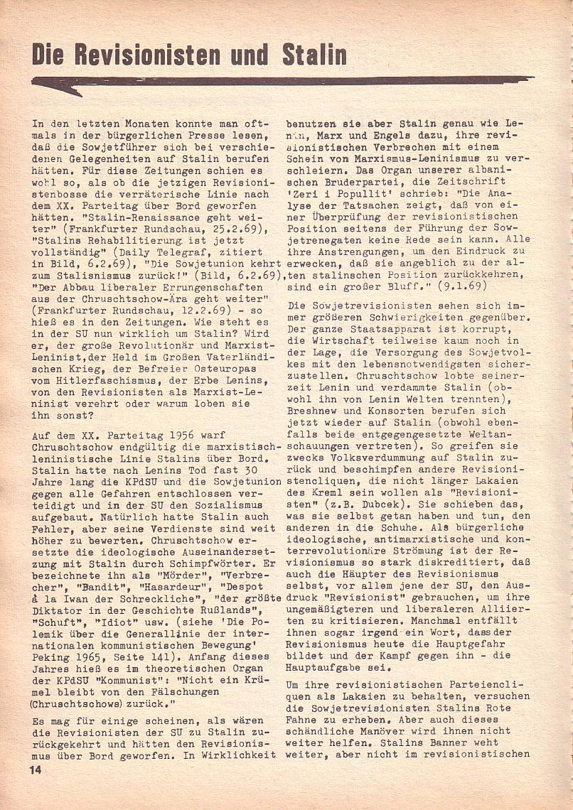 Roter Morgen, 3. Jg., Sept. 1969, Seite 14