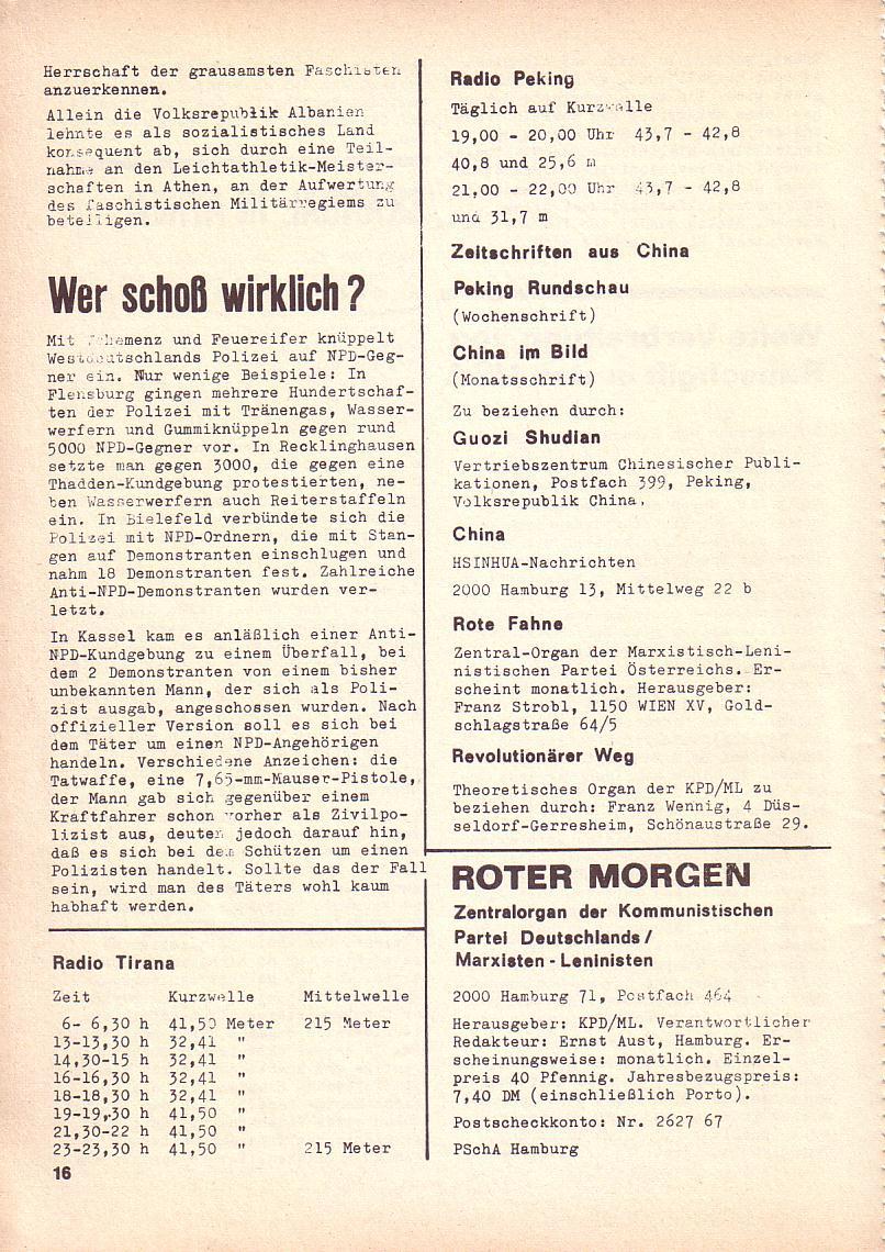 Roter Morgen, 3. Jg., Sept. 1969, Seite 16