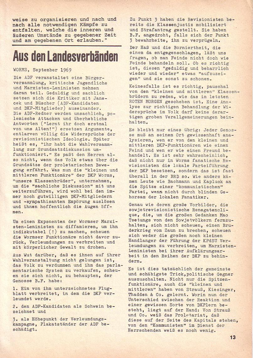 Roter Morgen, 3. Jg., Okt. 1969, Seite 13