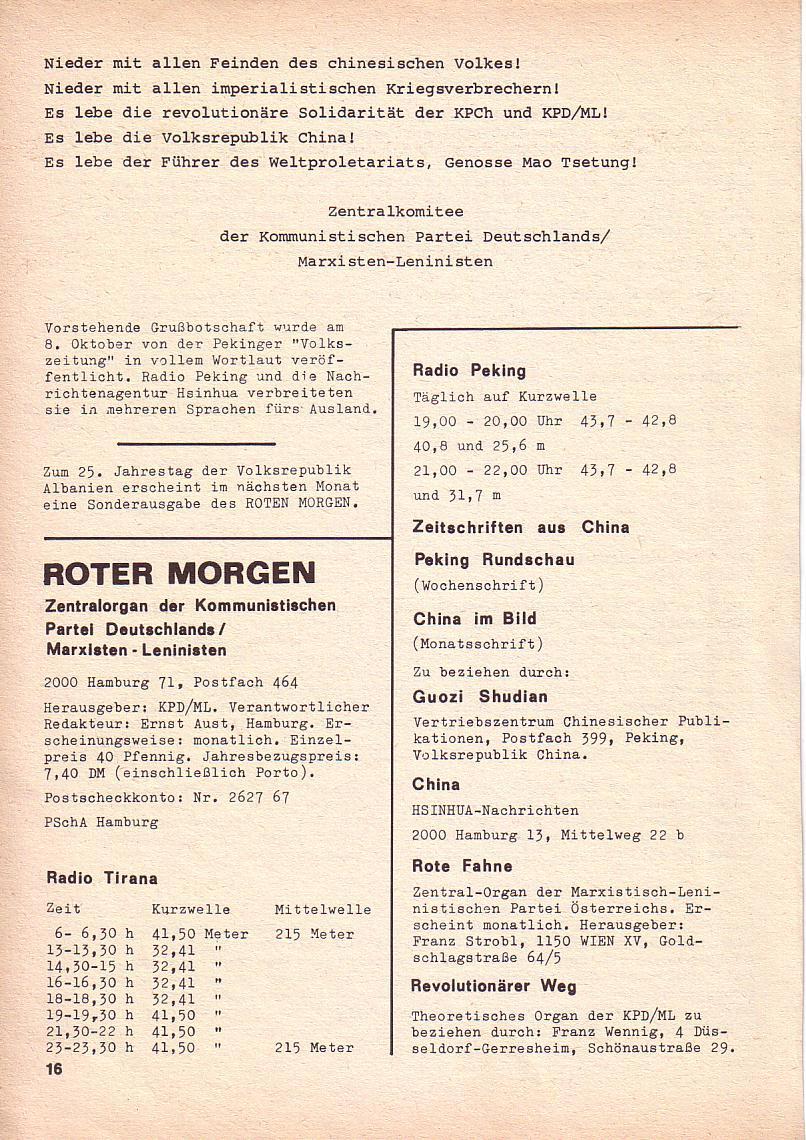 Roter Morgen, 3. Jg., Okt. 1969, Seite 16