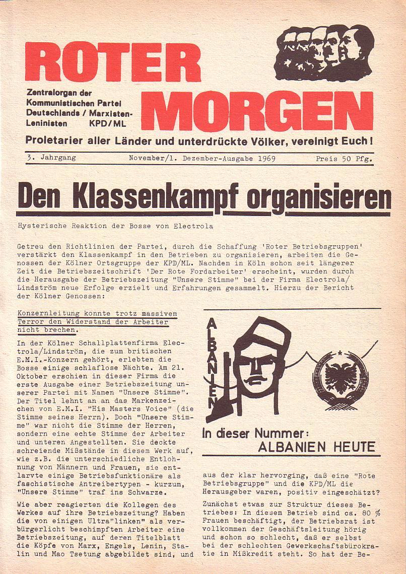 Roter Morgen, 3. Jg., Nov./1. Dez._Ausgabe 1969, Seite 1