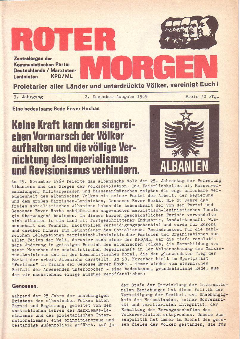 Roter Morgen, 3. Jg., 2. Dez._Ausgabe 1969, Seite 1
