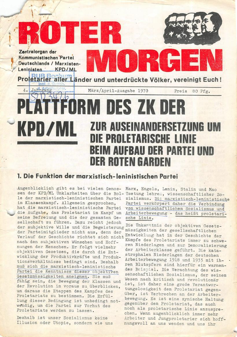 Roter Morgen, 4. Jg., März/April 1970, Seite 1