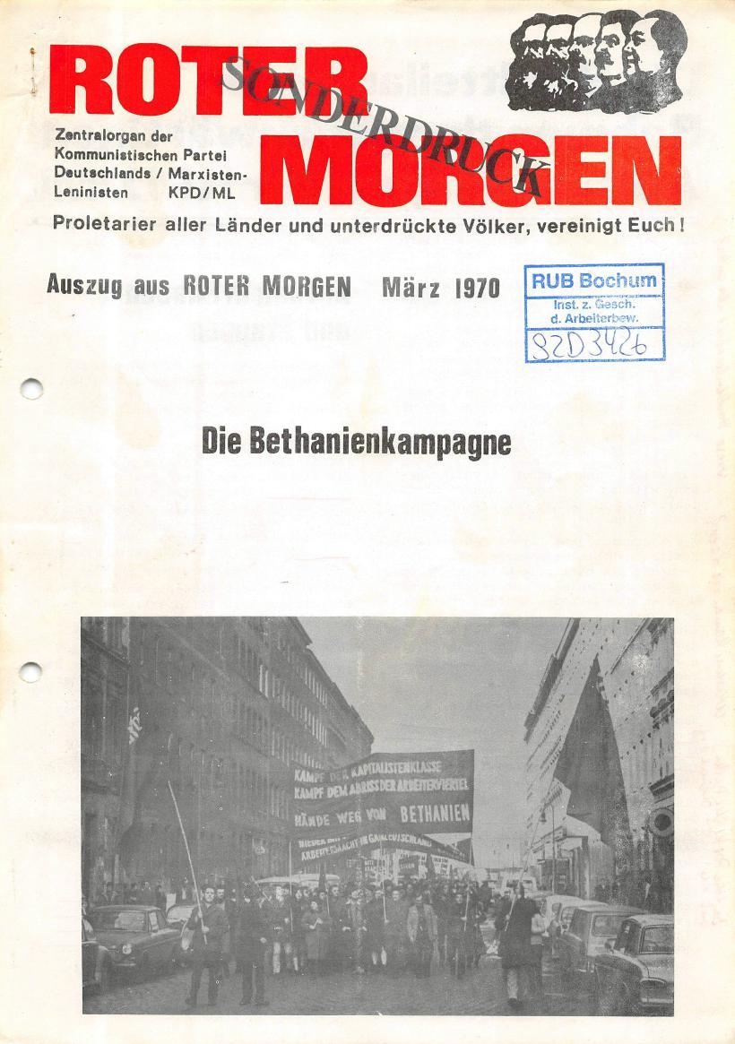 Roter Morgen, 4. Jg., Sonderdruck, März 1970, Seite 1