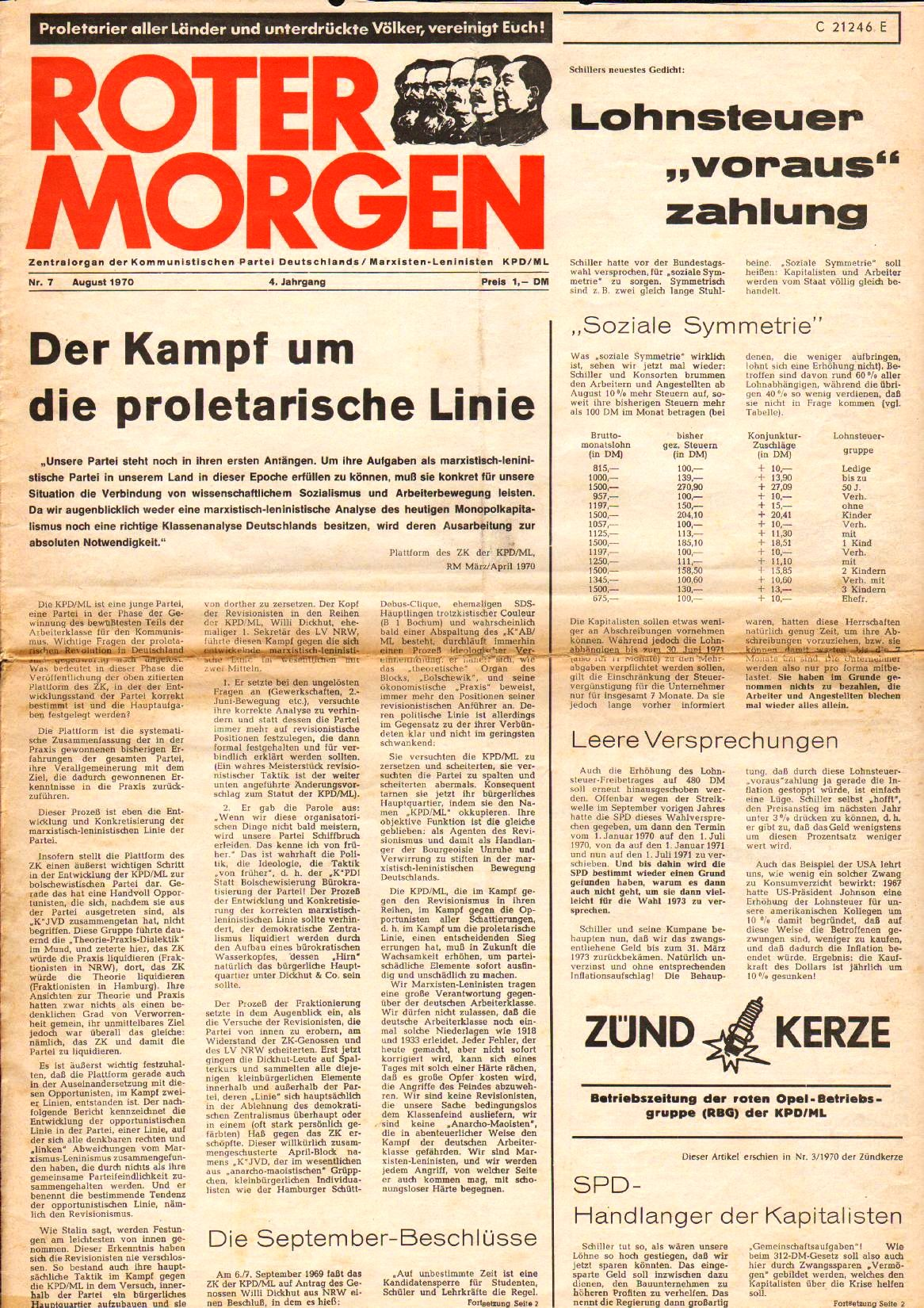 Roter Morgen, 4. Jg., August 1970, Nr. 7, Seite 1