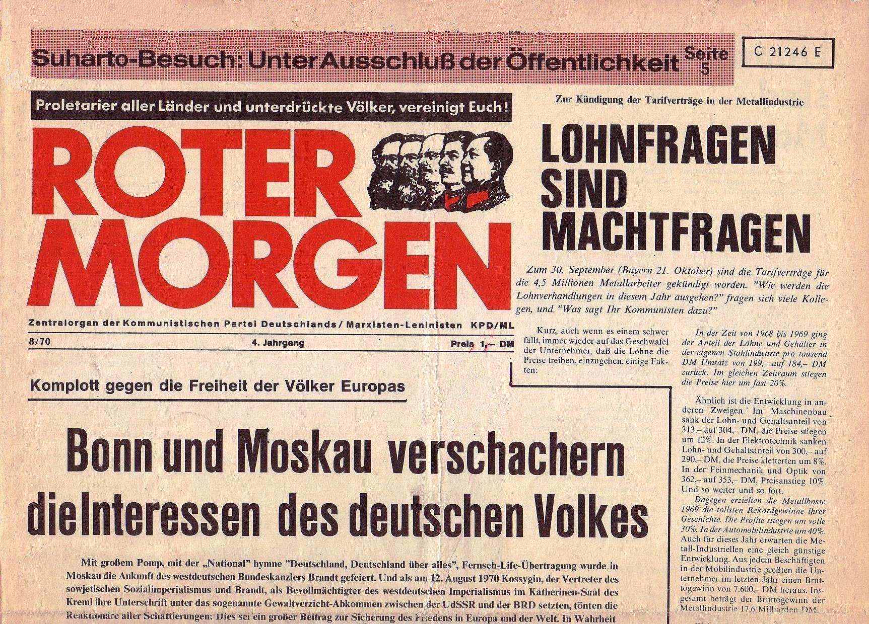 Roter Morgen, 4. Jg., September 1970, Nr. 8, Seite 1a