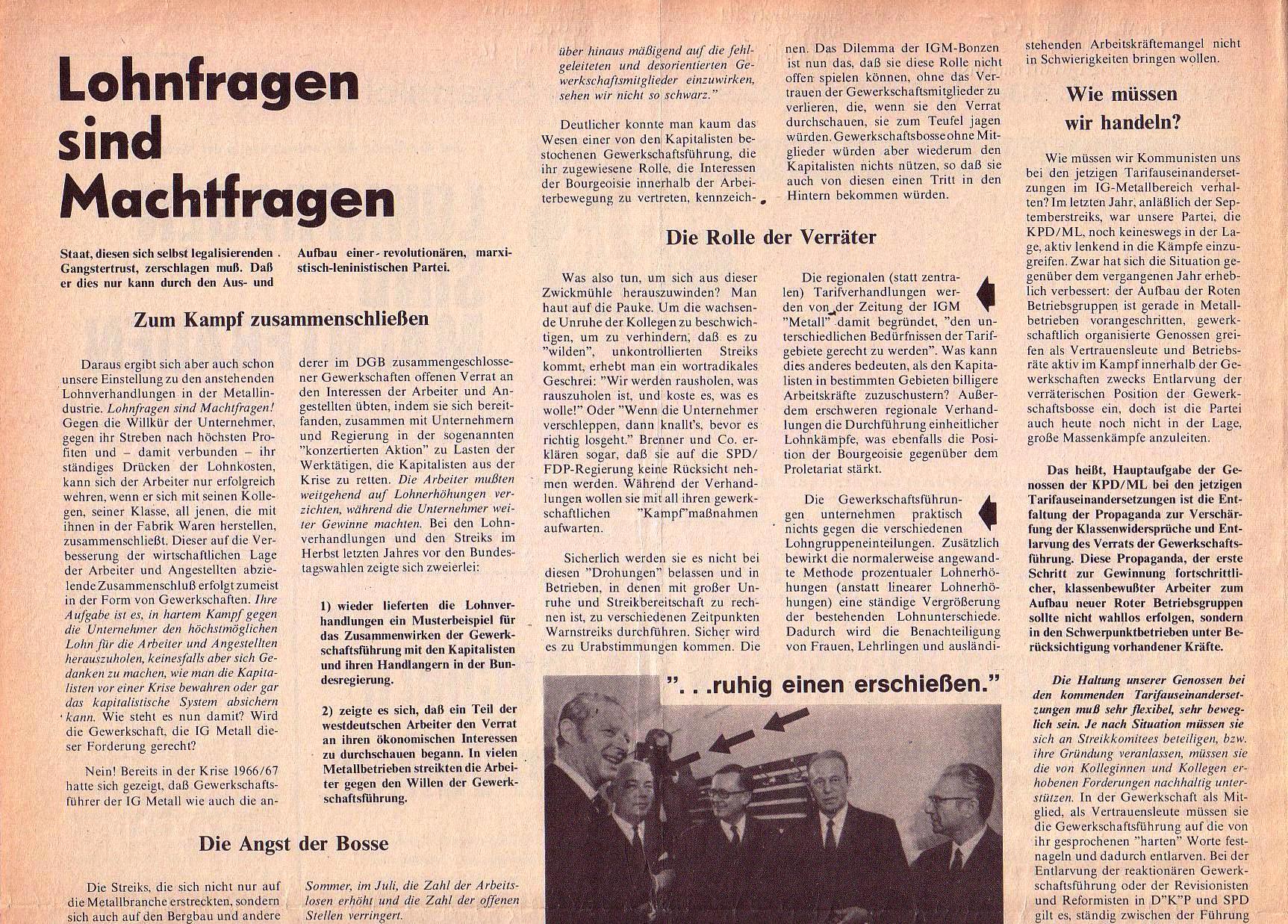 Roter Morgen, 4. Jg., September 1970, Nr. 8, Seite 2a