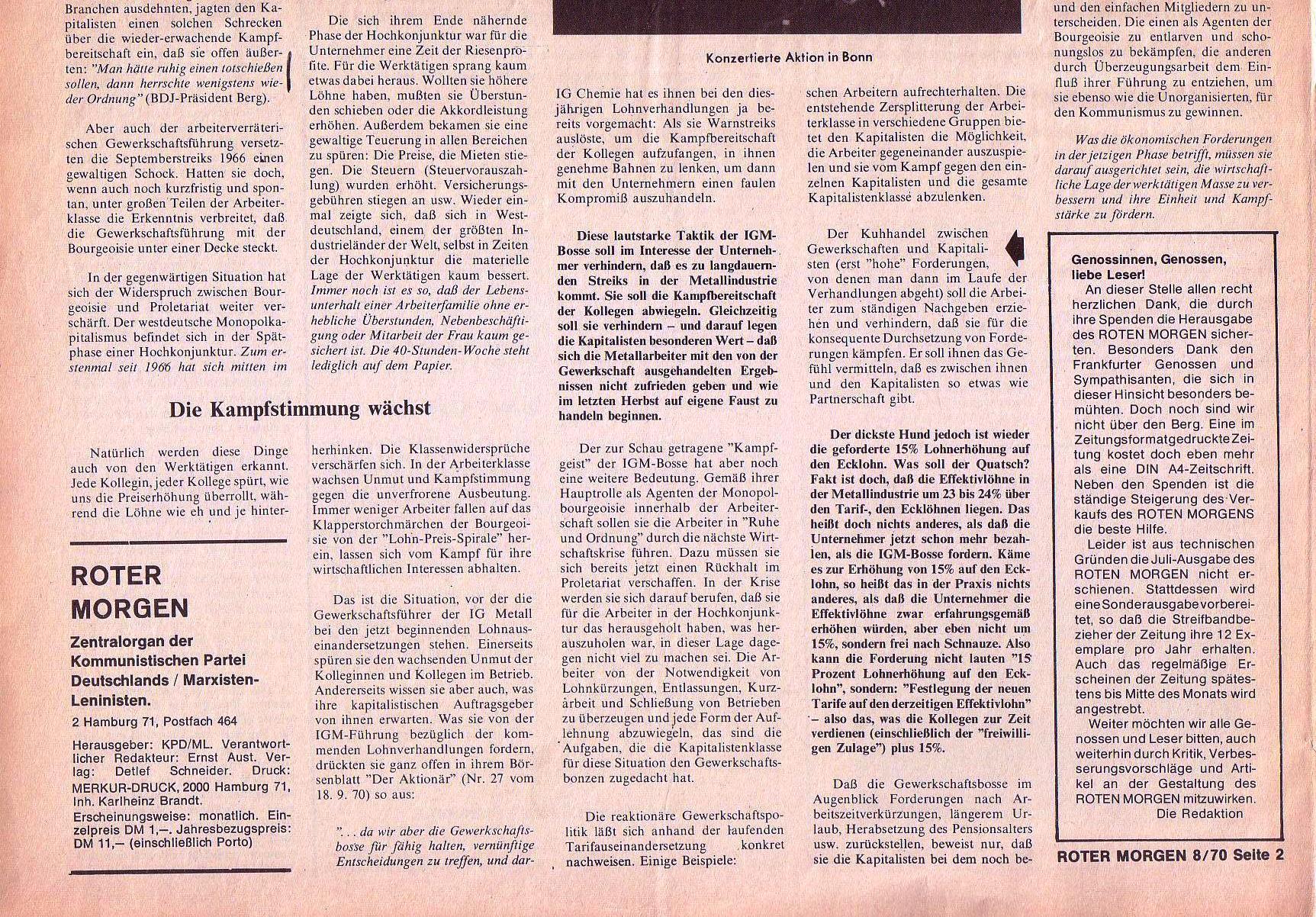 Roter Morgen, 4. Jg., September 1970, Nr. 8, Seite 2b