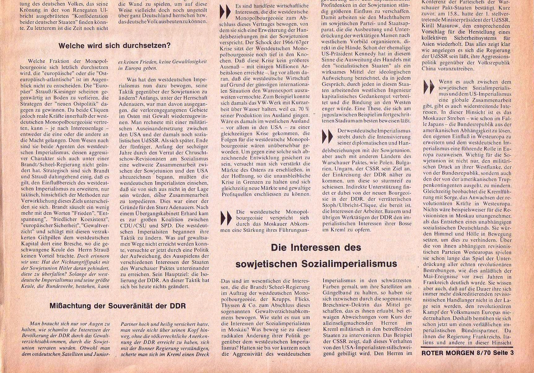 Roter Morgen, 4. Jg., September 1970, Nr. 8, Seite 3b