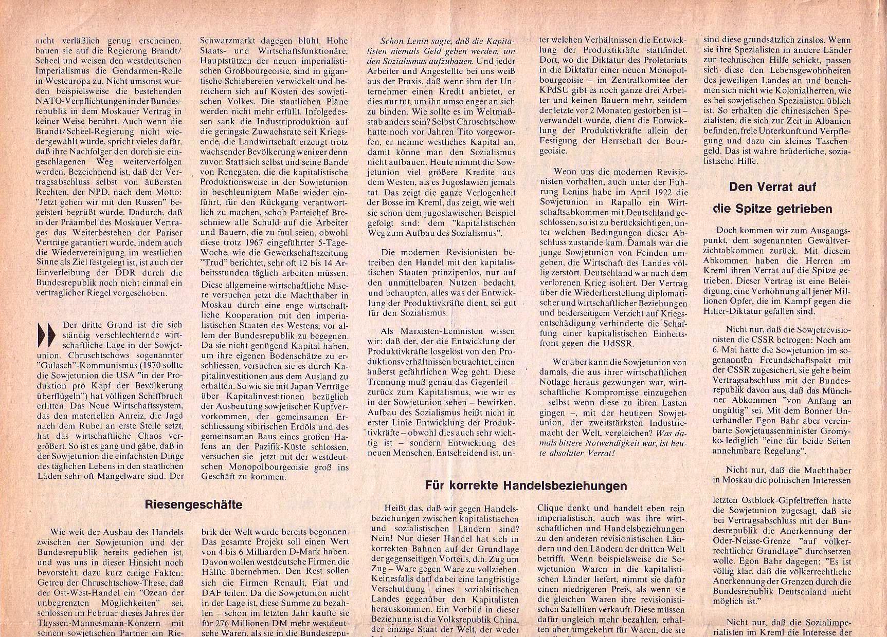 Roter Morgen, 4. Jg., September 1970, Nr. 8, Seite 4a