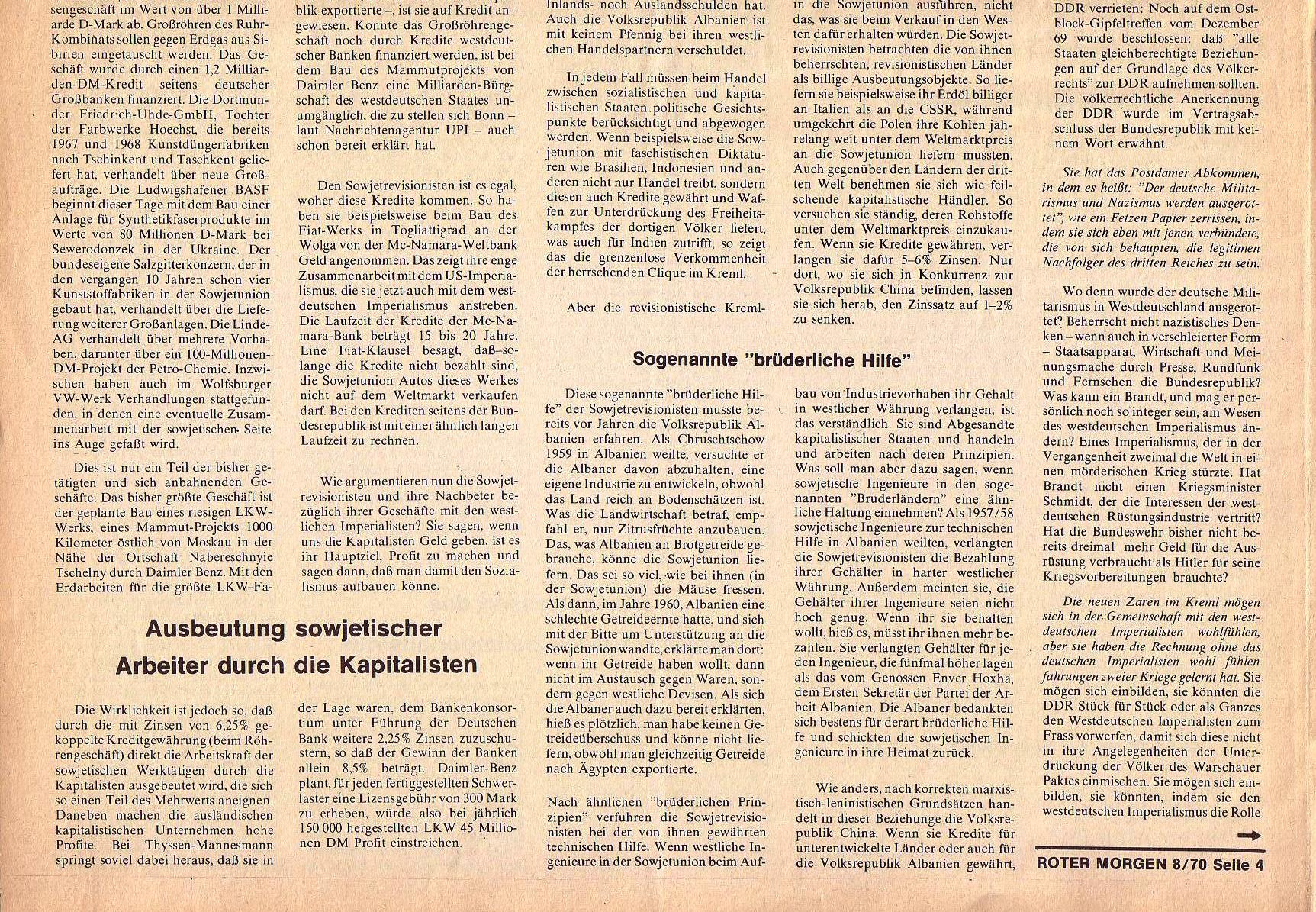 Roter Morgen, 4. Jg., September 1970, Nr. 8, Seite 4b