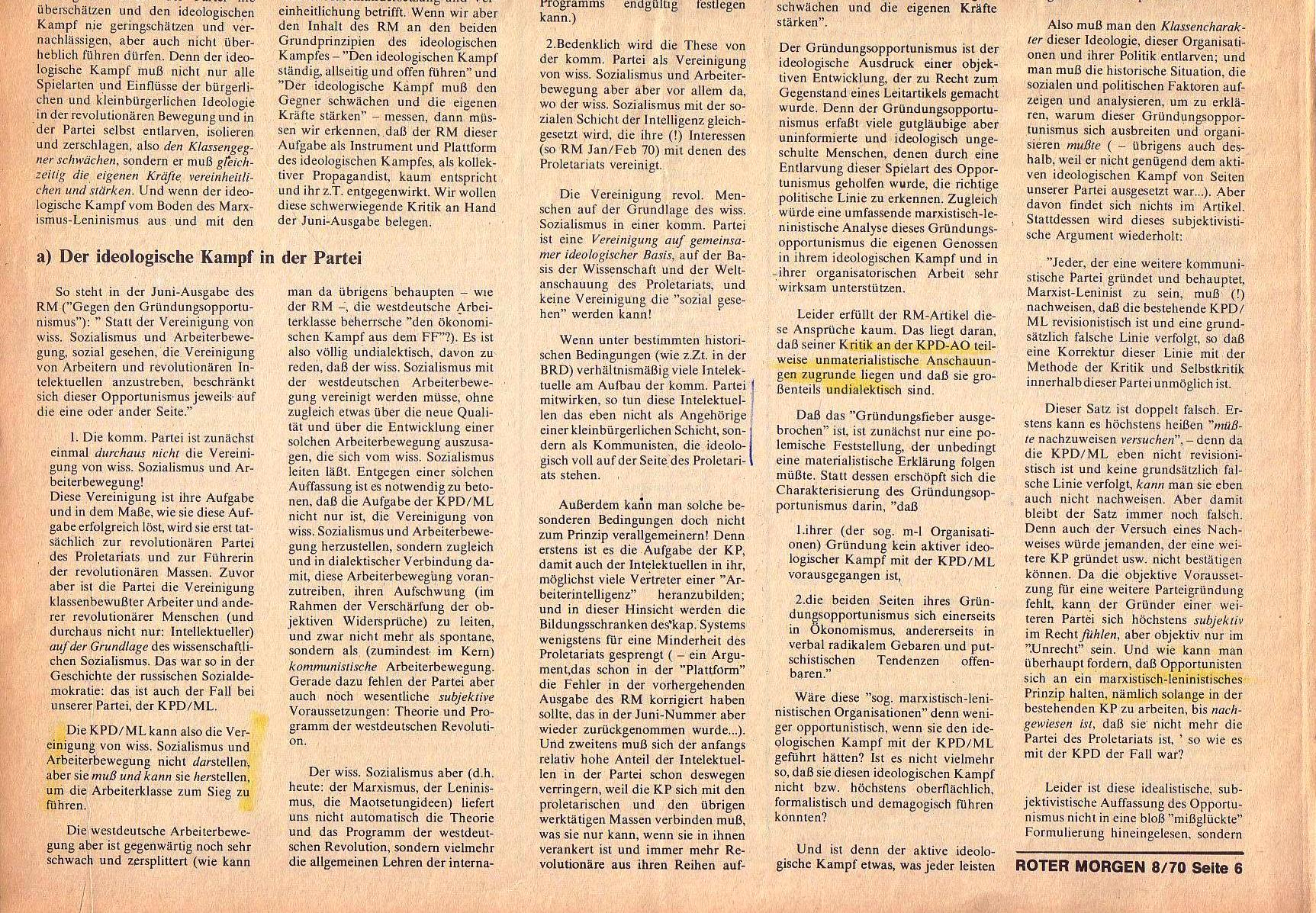 Roter Morgen, 4. Jg., September 1970, Nr. 8, Seite 6b