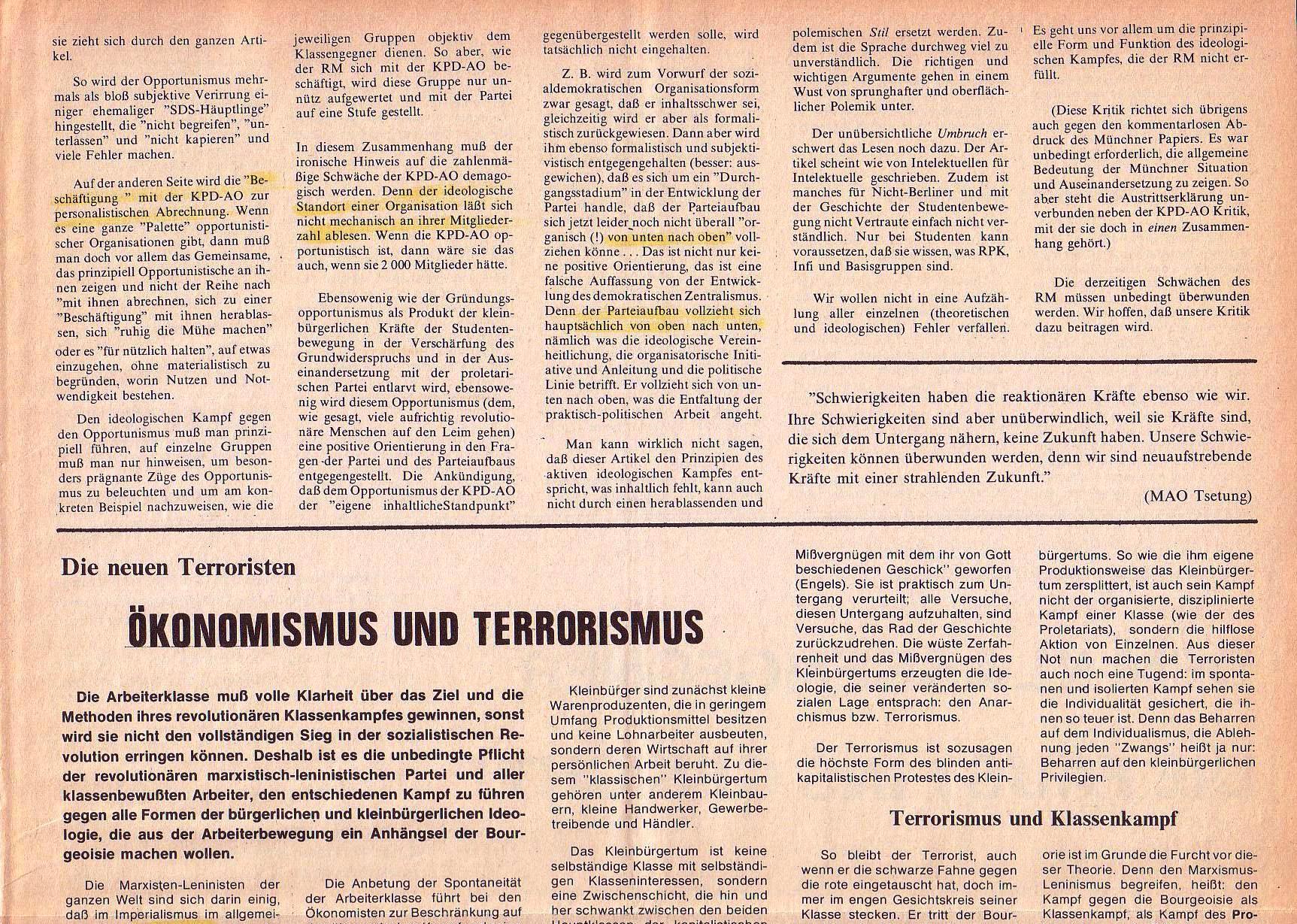 Roter Morgen, 4. Jg., September 1970, Nr. 8, Seite 7a