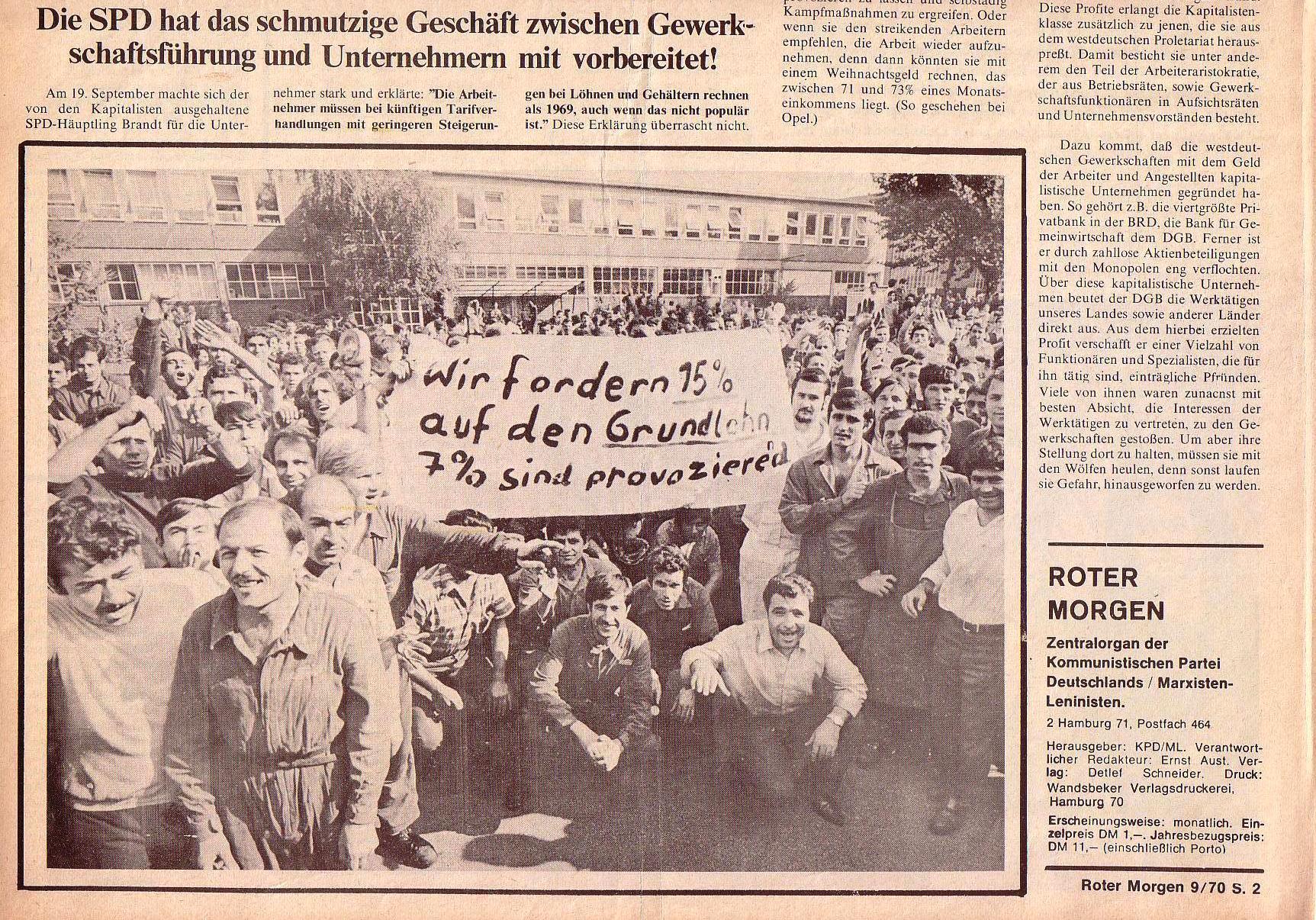 Roter Morgen, 4. Jg., Oktober 1970, Nr. 9, Seite 2b