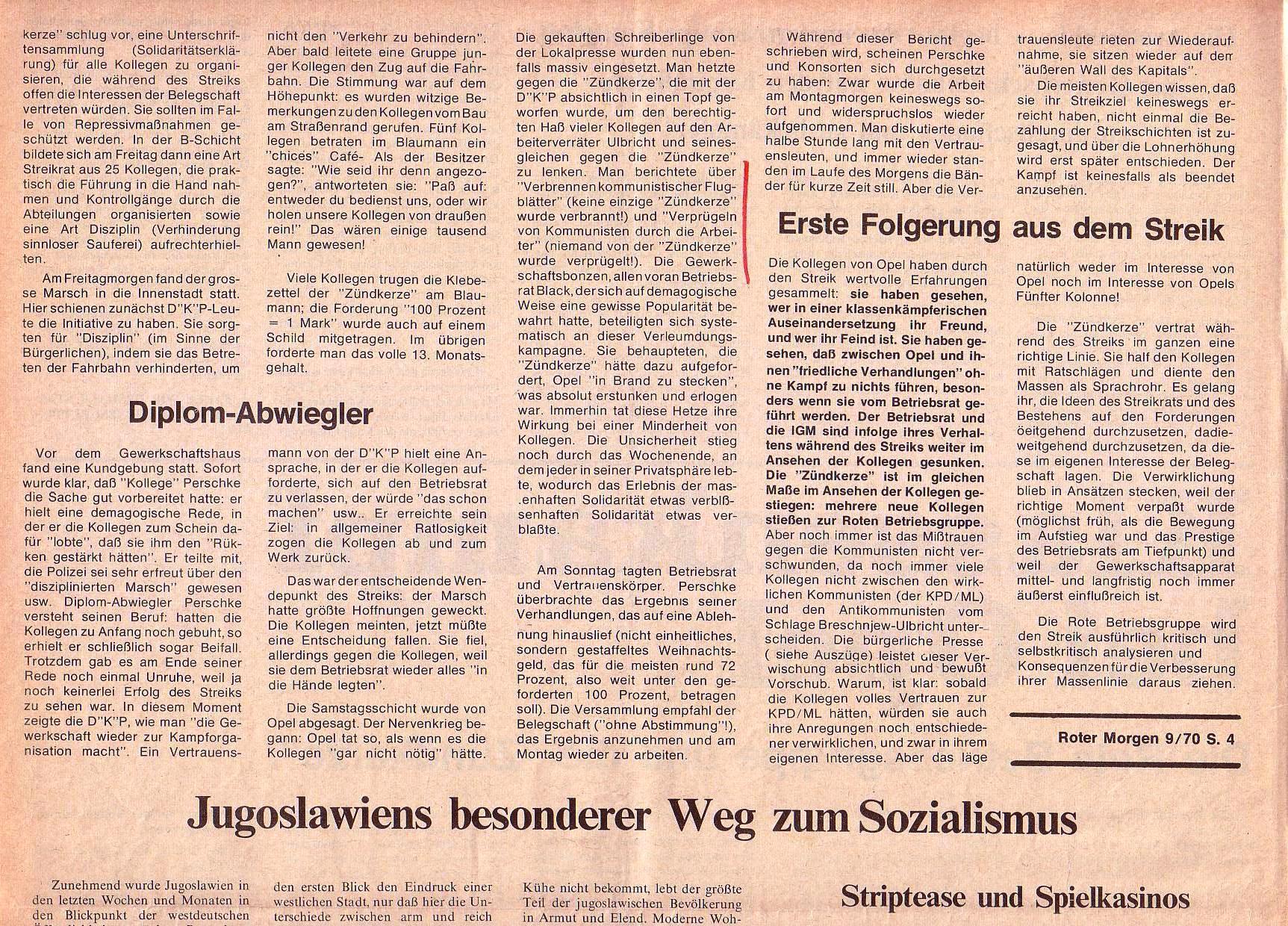 Roter Morgen, 4. Jg., Oktober 1970, Nr. 9, Seite 4a