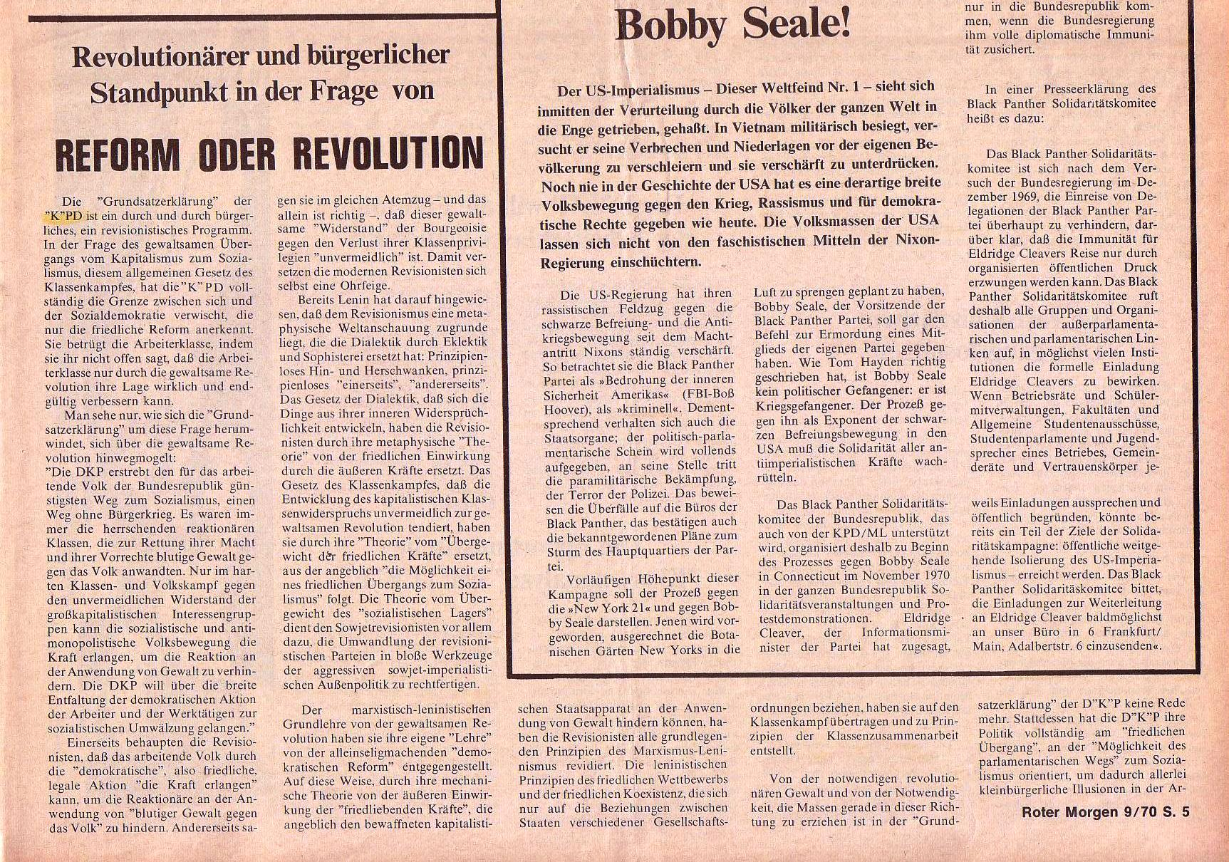 Roter Morgen, 4. Jg., Oktober 1970, Nr. 9, Seite 5b