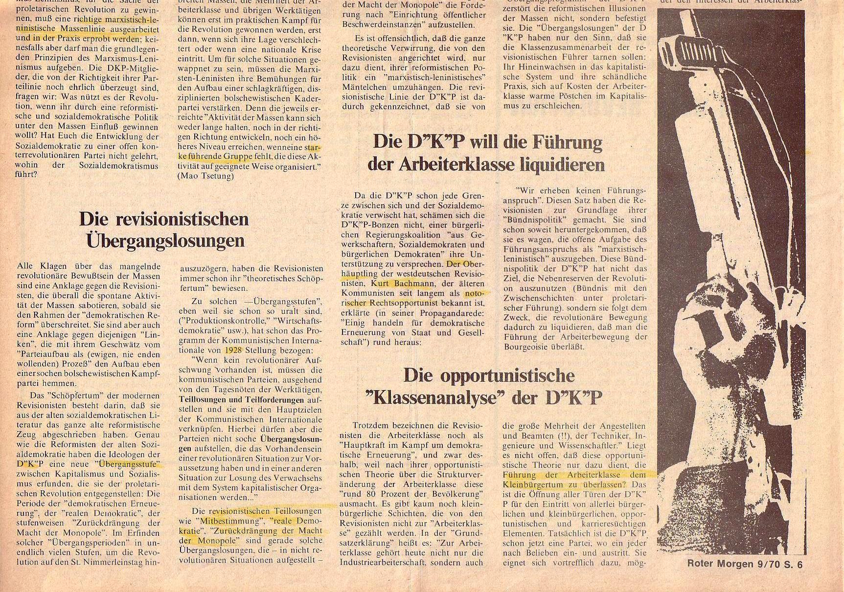 Roter Morgen, 4. Jg., Oktober 1970, Nr. 9, Seite 6b