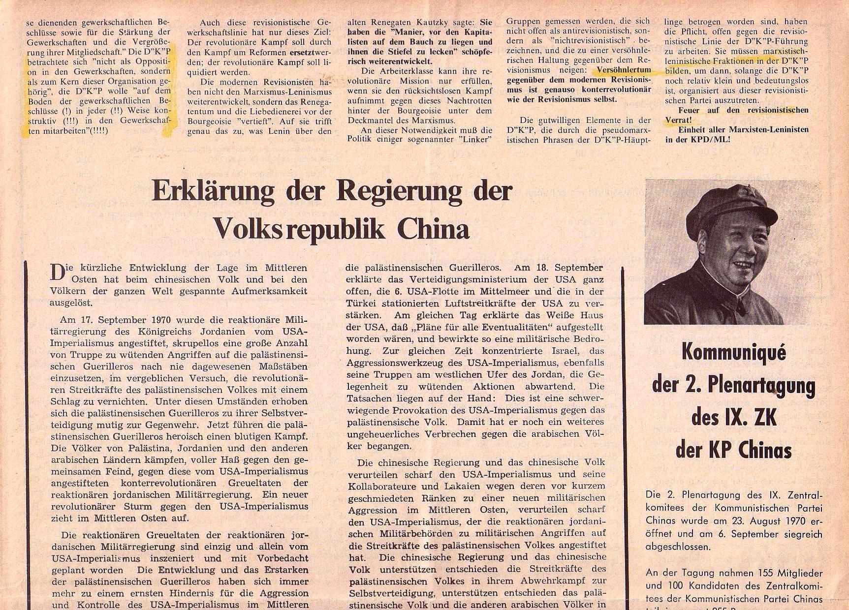Roter Morgen, 4. Jg., Oktober 1970, Nr. 9, Seite 7a