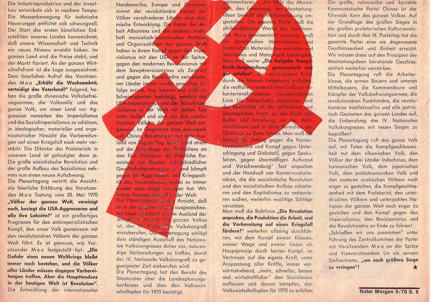 Roter Morgen, 4. Jg., Oktober 1970, Nr. 9, Seite 8b