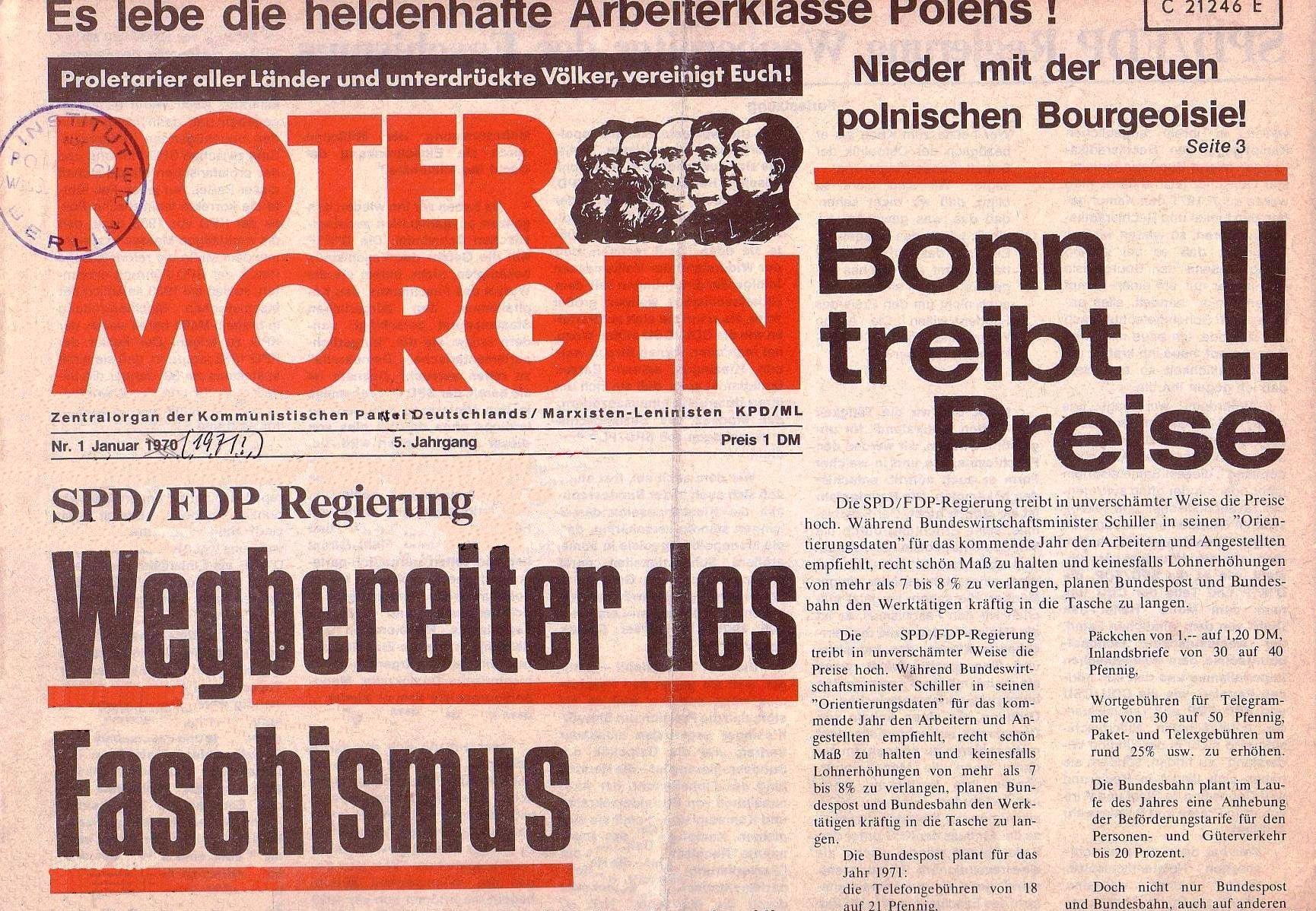 Roter Morgen, 5. Jg., Januar 1971, Nr. 1, Seite 1a