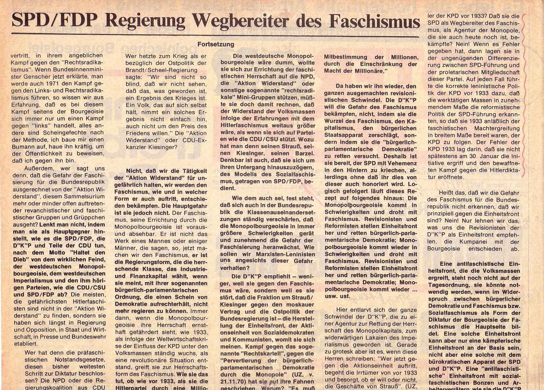 Roter Morgen, 5. Jg., Januar 1971, Nr. 1, Seite 2a