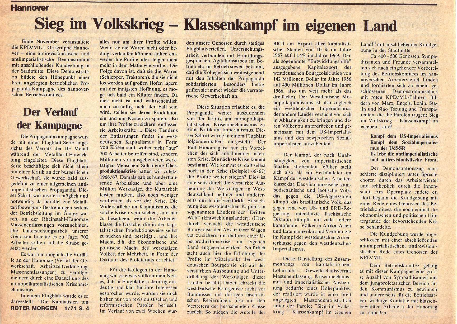 Roter Morgen, 5. Jg., Januar 1971, Nr. 1, Seite 4b