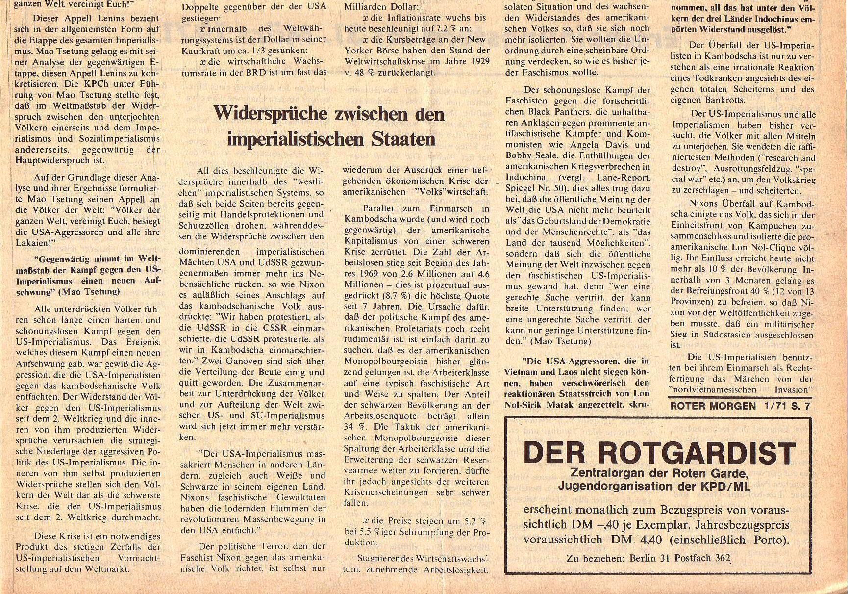 Roter Morgen, 5. Jg., Januar 1971, Nr. 1, Seite 7b