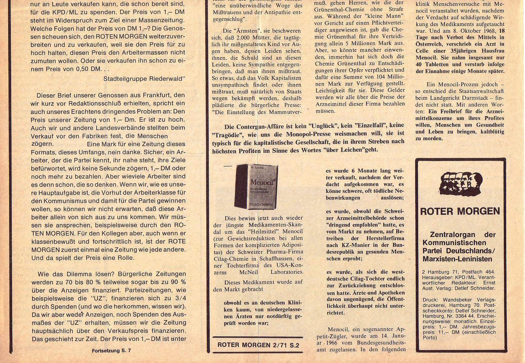 Roter Morgen, 5. Jg., Februar 1971, Nr. 2, Seite 2b