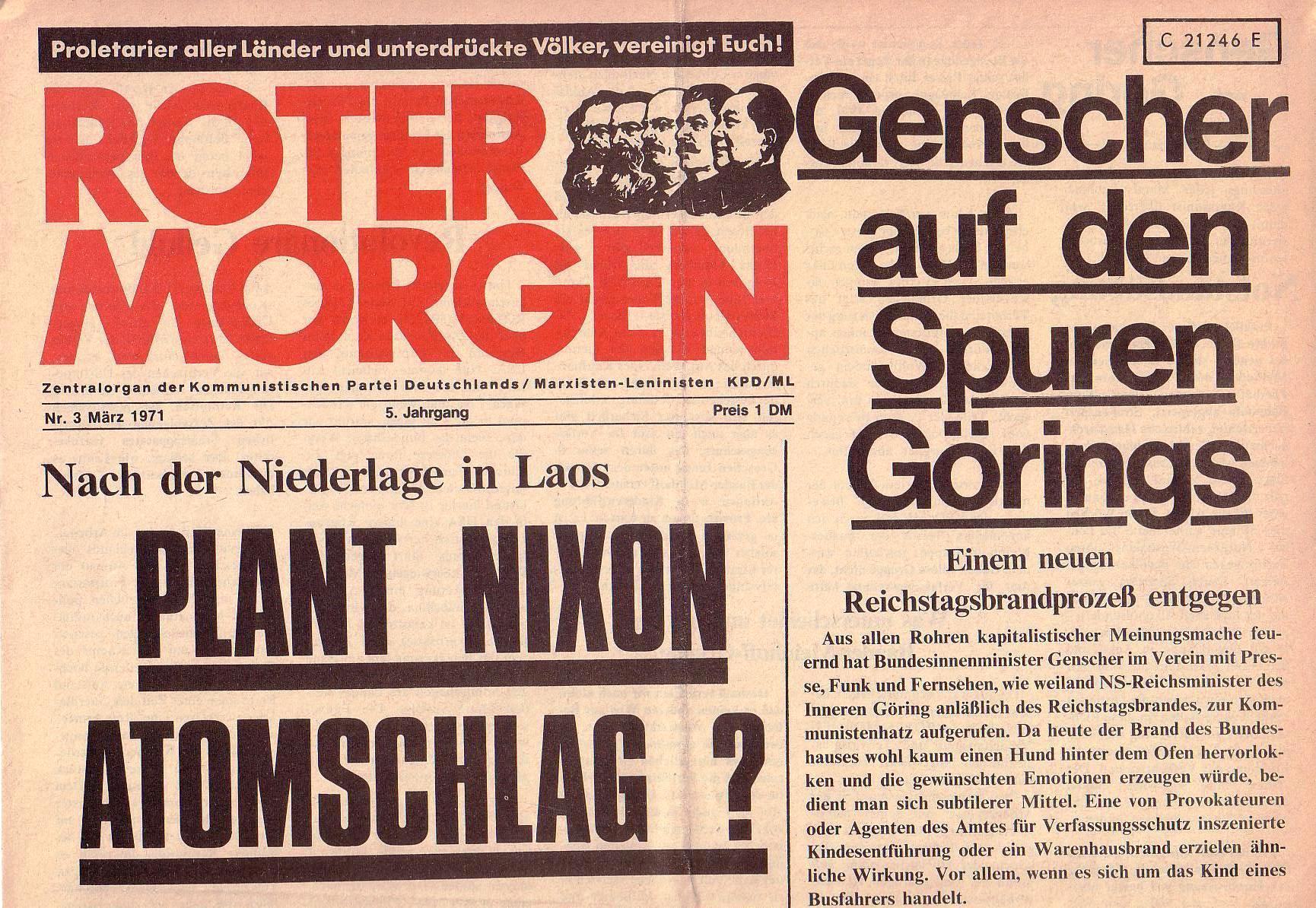 Roter Morgen, 5. Jg., März 1971, Nr. 3, Seite 1a