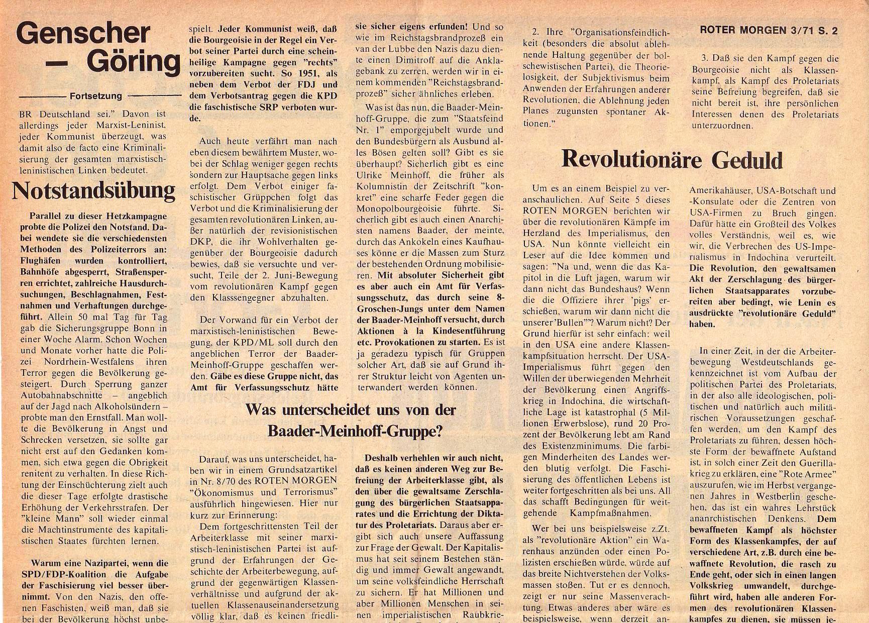 Roter Morgen, 5. Jg., März 1971, Nr. 3, Seite 2a