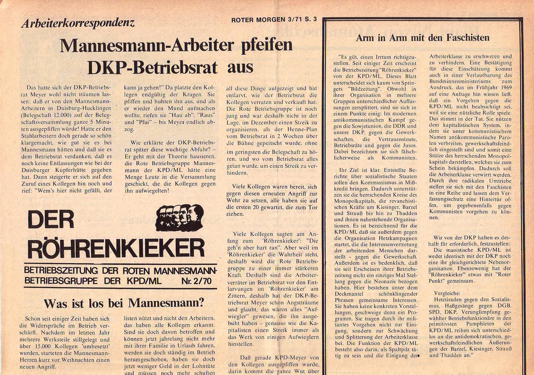 Roter Morgen, 5. Jg., März 1971, Nr. 3, Seite 3a