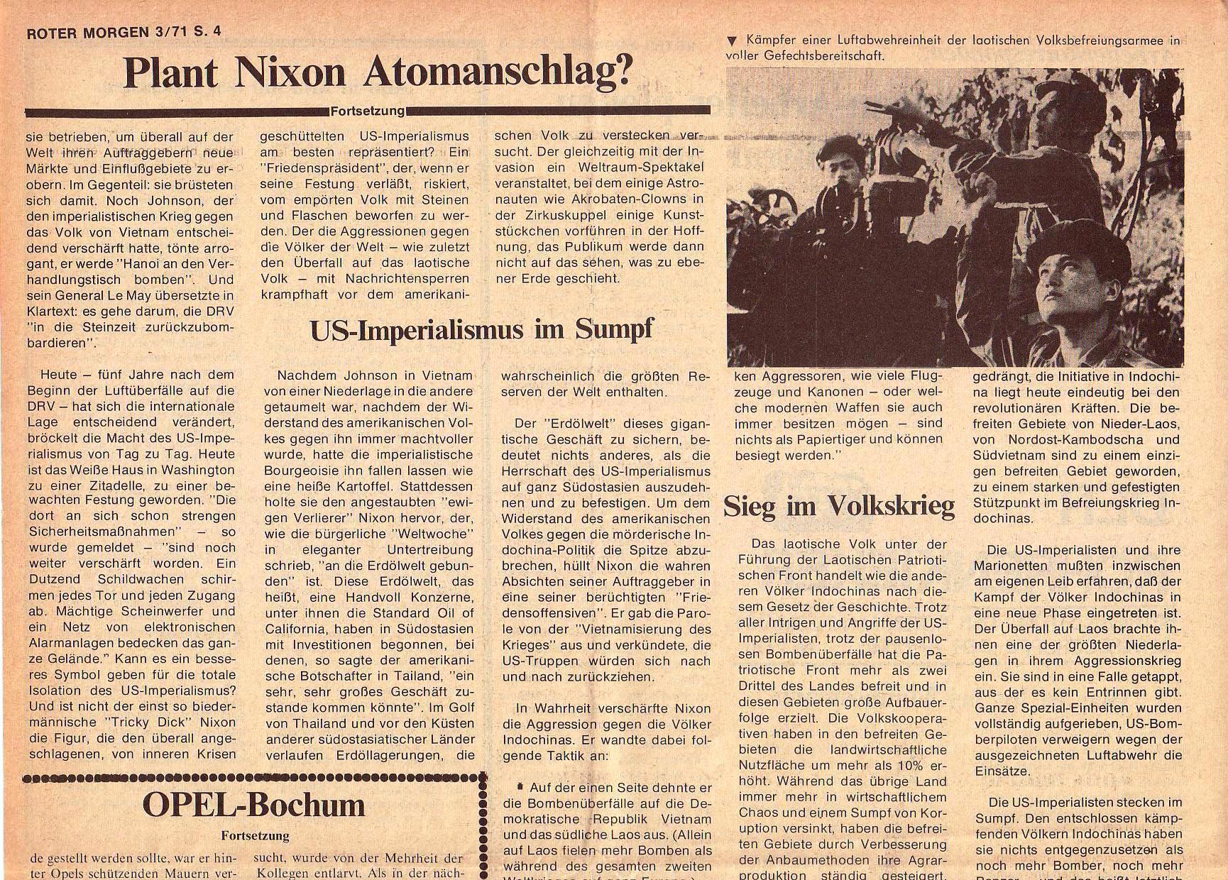 Roter Morgen, 5. Jg., März 1971, Nr. 3, Seite 4a