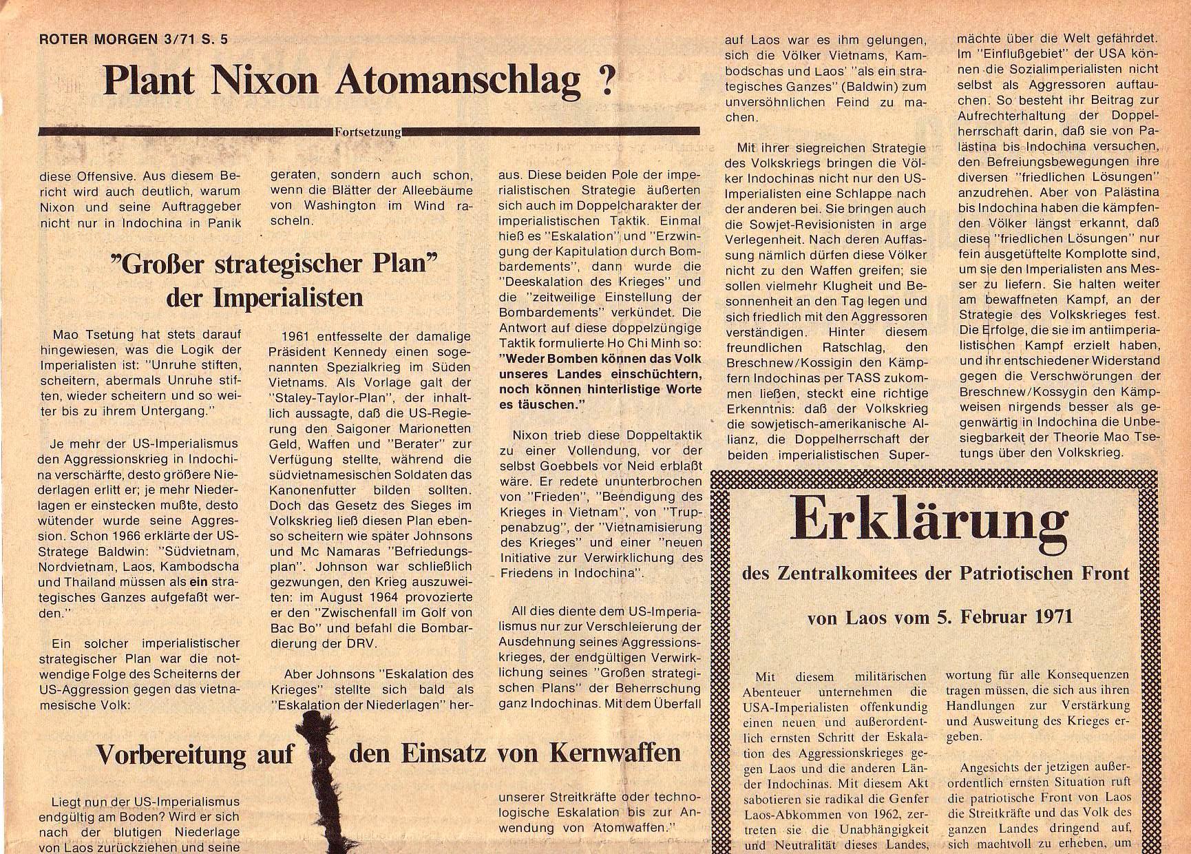 Roter Morgen, 5. Jg., März 1971, Nr. 3, Seite 5a