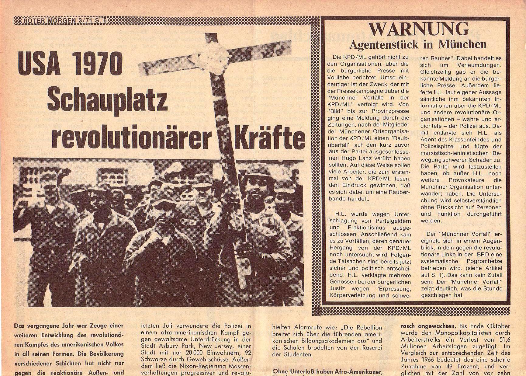 Roter Morgen, 5. Jg., März 1971, Nr. 3, Seite 6a