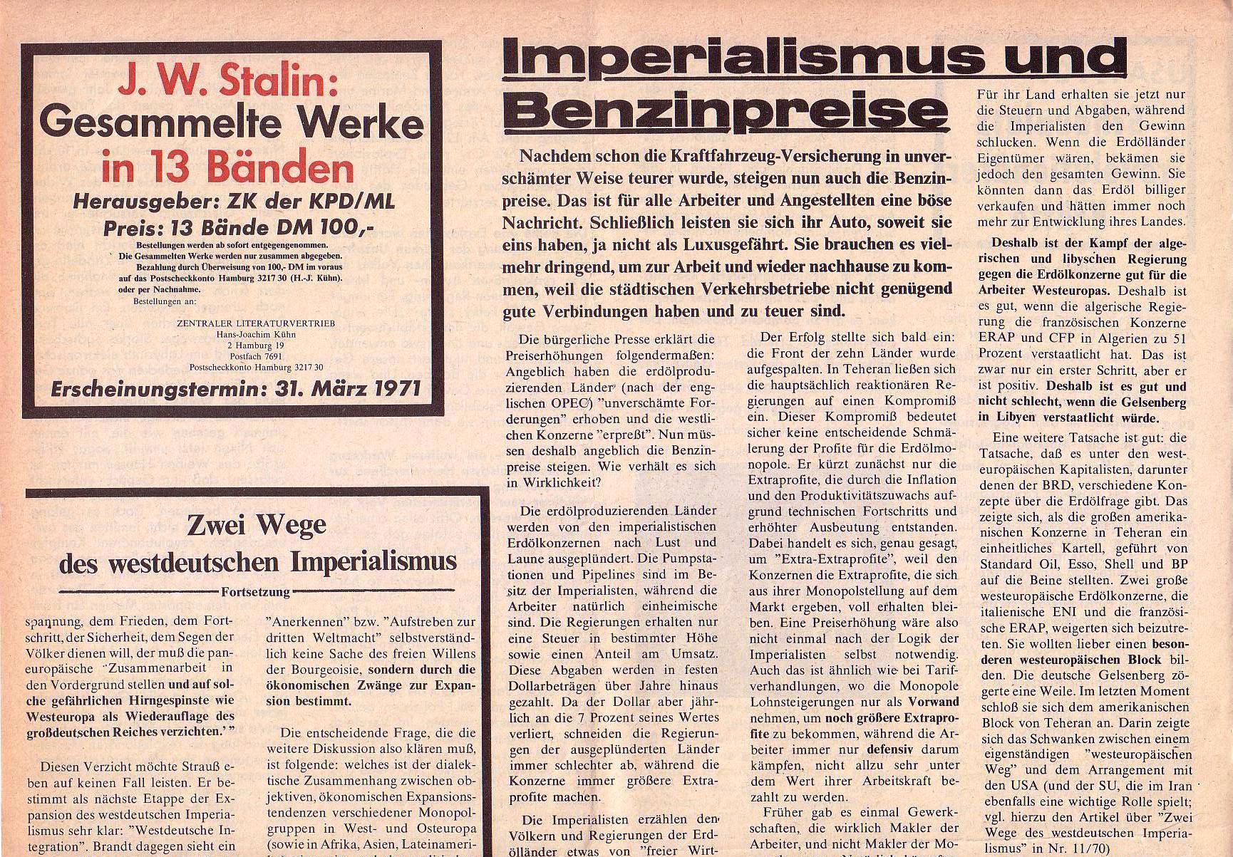 Roter Morgen, 5. Jg., März 1971, Nr. 3, Seite 8a