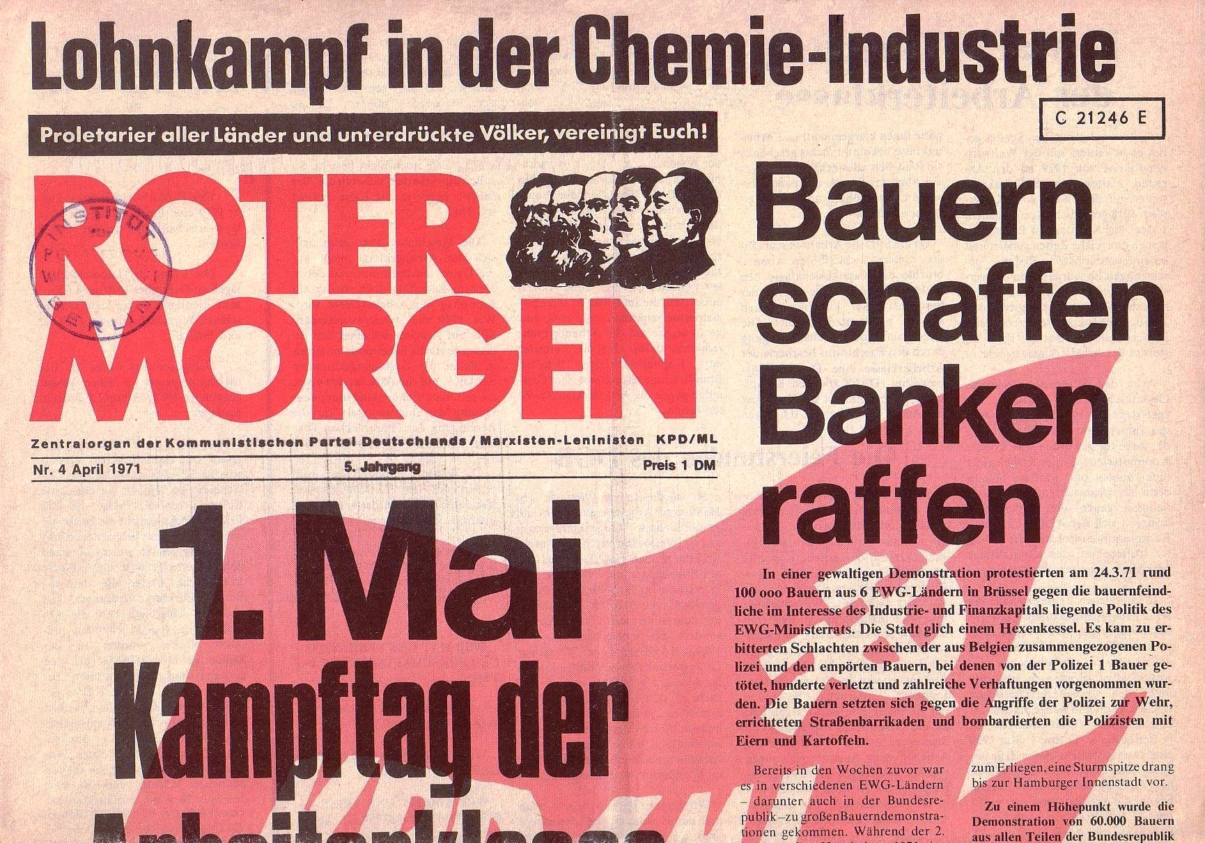 Roter Morgen, 5. Jg., April 1971, Nr. 4, Seite 1a