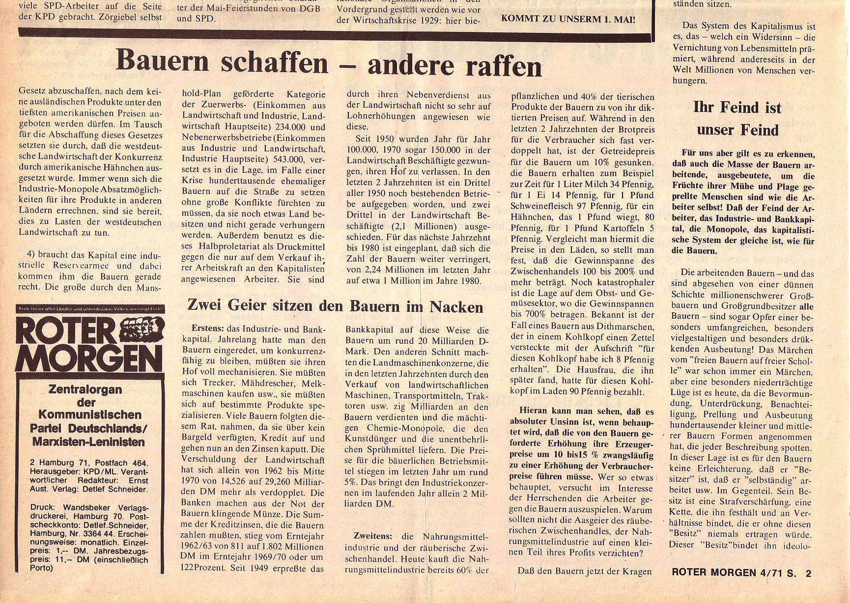 Roter Morgen, 5. Jg., April 1971, Nr. 4, Seite 2b