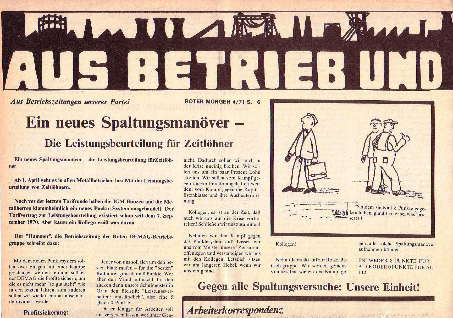 Roter Morgen, 5. Jg., April 1971, Nr. 4, Seite 6a