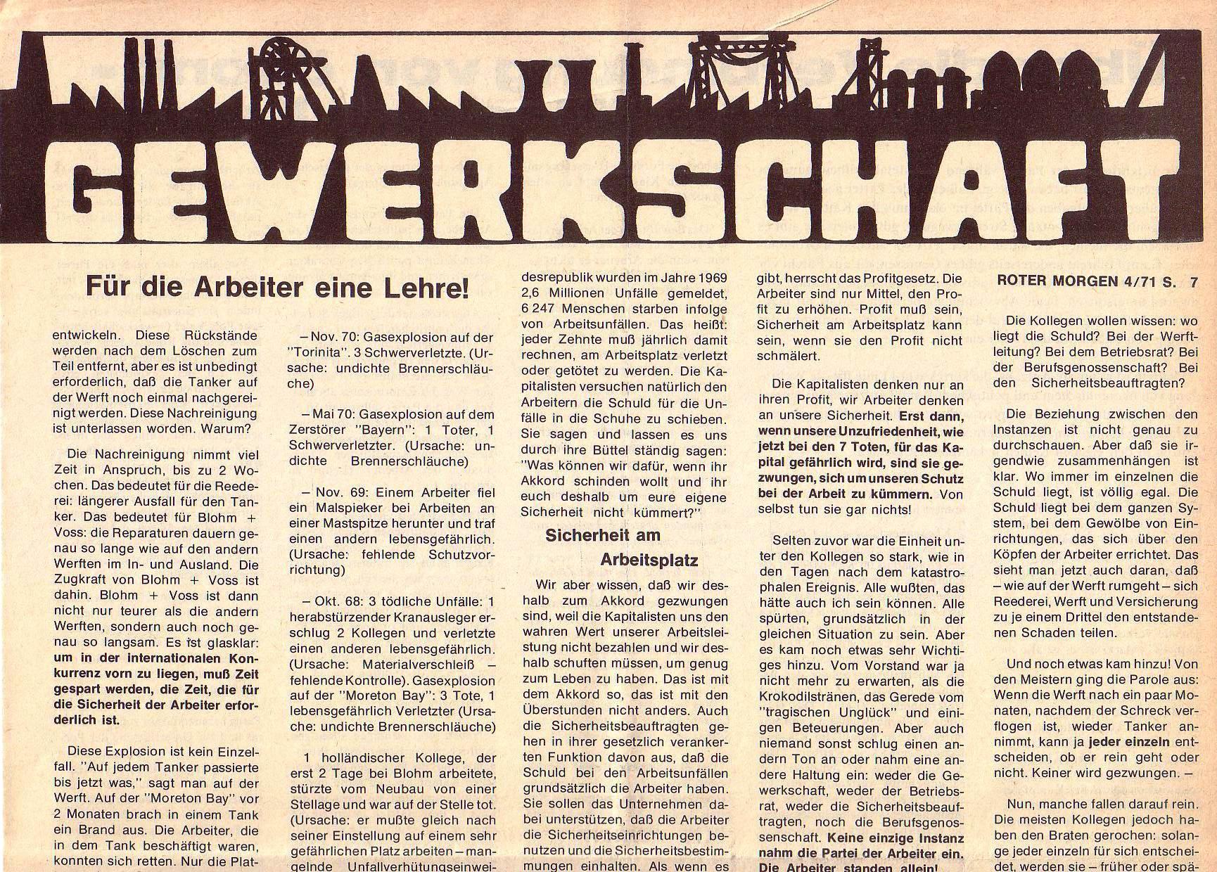 Roter Morgen, 5. Jg., April 1971, Nr. 4, Seite 7a