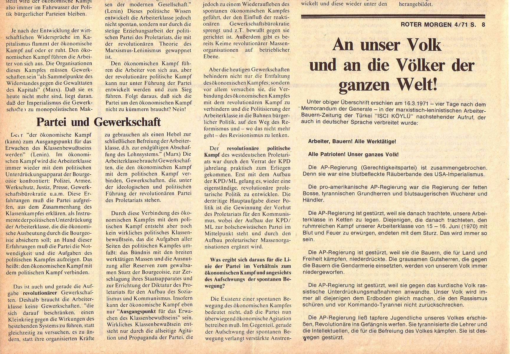 Roter Morgen, 5. Jg., April 1971, Nr. 4, Seite 8b