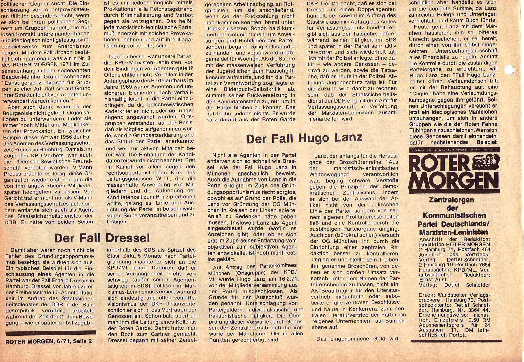 Roter Morgen, 5. Jg., Juni 1971, Nr. 6, Seite 2b