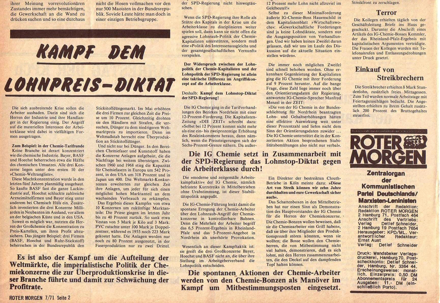 Roter Morgen, 5. Jg., Juli 1971, Nr. 7, Seite 2b