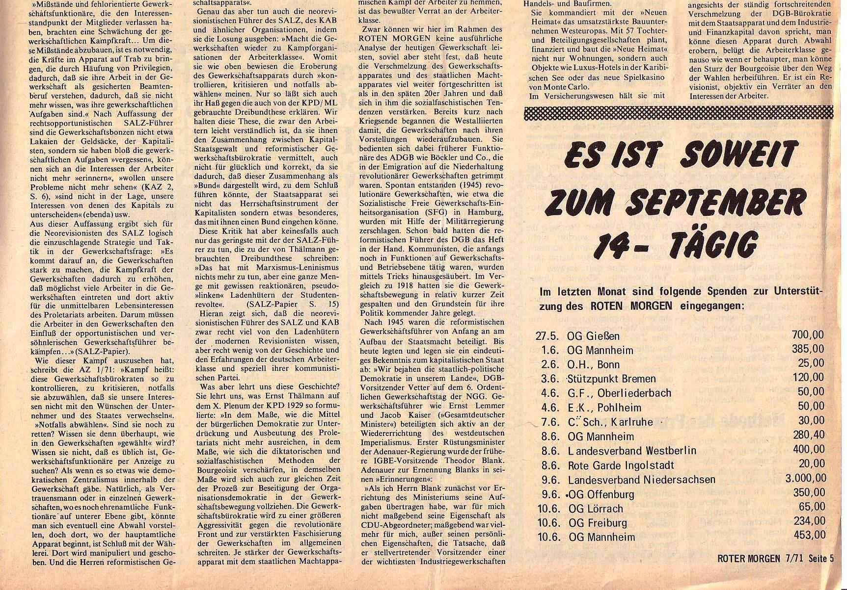 Roter Morgen, 5. Jg., Juli 1971, Nr. 7, Seite 5b
